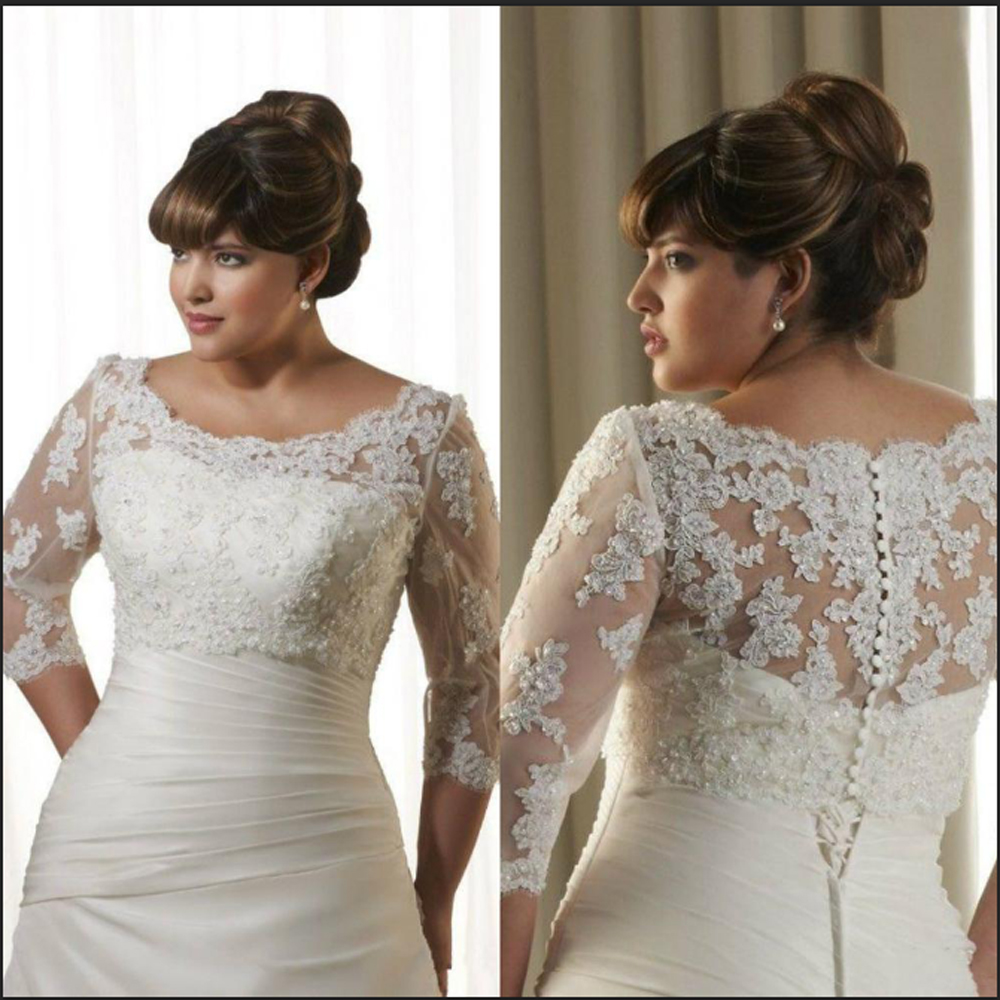 Appliques Wedding Jackets Crystal Beaded Lace Bridal Boleros Wraps 3/4 Long Sleeve Boat Neck Coat