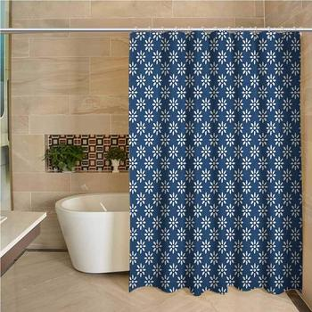 Dutch Waterproof and colorful shower curtain Hand Drawn Style White Flowers on a Blue Background Classic Delft Pattern Polyester