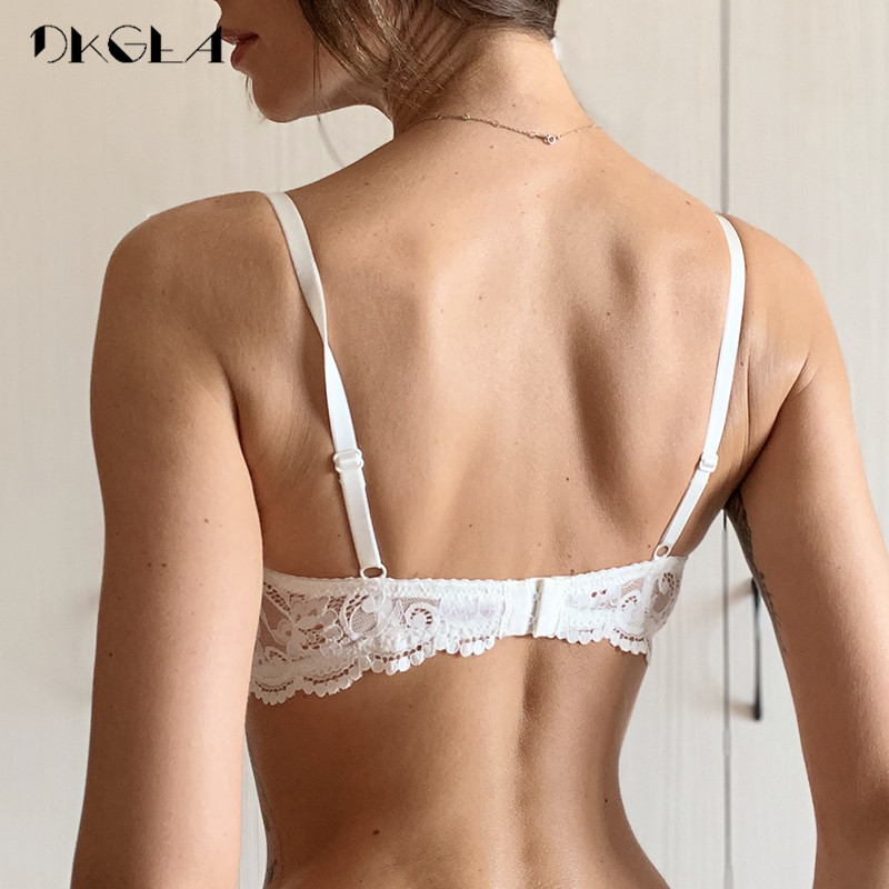 New Half Cup Bra Push Up White Women Lingerie Embroidery Brassiere Thin Cotton Comfortable Sexy Underwear Lace Bras A B C D Cup 2