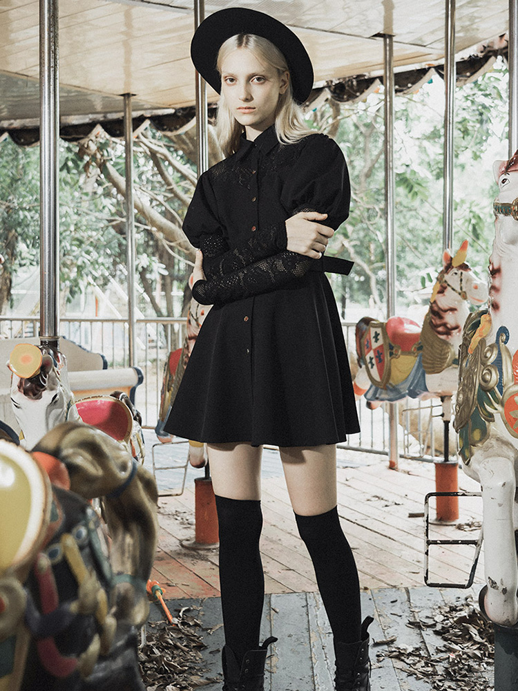Punk Rave femmes Goth dentelle manches bouffantes robe chemise avec ceinture PQ-613DQ asie taille S-L