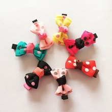 1 Pcs/lot Small Mini Bowknot Hairgrips Sweet Kids Girls Dot Ribbon Hair Clips Hairpins