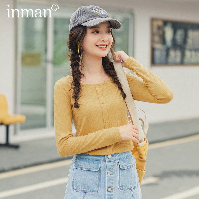 INMAN 2020 Spring New Arrival Minimalist Round Color Fake Single Breasted Fitting Basic Style Inside Wear T-shirt