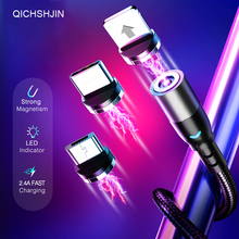 2.4A Magnetic Cable Micro USB Type C Cord Fast Charging LED lighting For iPhone 11 Samsung Huawei Xiaomi Mobile Phone Wire 1M 2M kisscase led magnetic cable for iphone usb type c cable for samsung xiaomi android mobile phone 1m 2m micro usb c charging cable