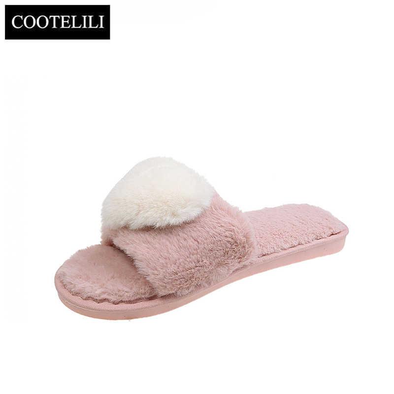 COOTELILI 여성 홈 슬리퍼 하트 모양의 겨울 따뜻한 신발 여성 슬립 플랫 슬라이드 여성 모조 슬리퍼 캐주얼 36-45