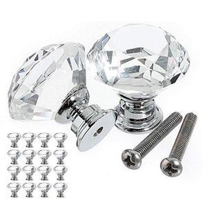 16 peças de vidro maçaneta da gaveta porta cristal diamante lidar com puxar diâmetro 30mm para armários armários armários móveis