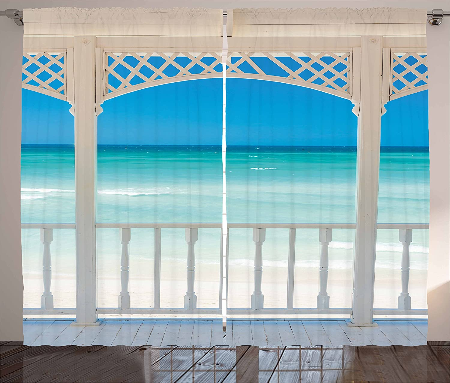 Coastal Window Curtains Romantic Wooden Terrace with View of Tropical Beach in Cuba Pavilion Image Living Room Bedroom Decor image