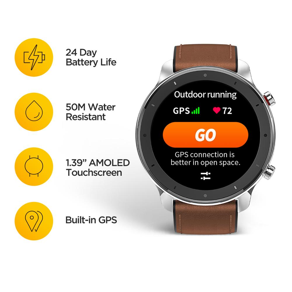 Image 2 - 2019 Amazfit GTR 47mm Smart Watch with GPS 5ATM Waterproof 24 Days Battery Life 12 sports mode Bluetooth AMOLED Screen -in Smart Watches from Consumer Electronics