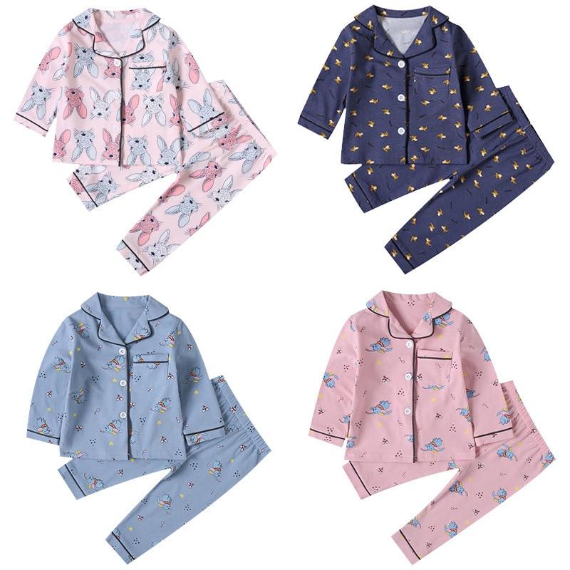 SAILEROAD Children Cartoon Rabbit Pajamas For Girls Kids Animal Printed Pyjamas Girls Pajamas Child Home Wear Boys Sleepwear Set
