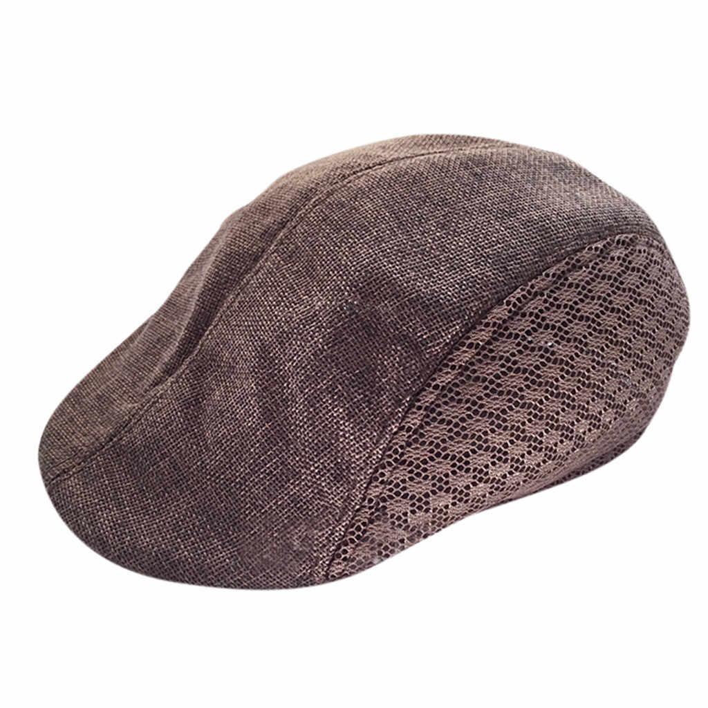 Boinas de lino para hombre y mujer, nueva gorra de malla transpirable y cómoda, sombreros de Invierno para mujer, boina hombre verano boina francesa