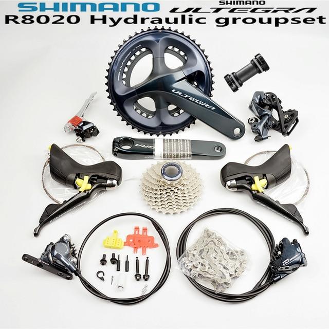SHIMANO R8020 Groupset ULTEGRA R8020 R8000 Hydraulische Scheiben Bremse Umwerfer STRAßE Fahrrad R8070 shifter 53 39T 50  34T 52 36T