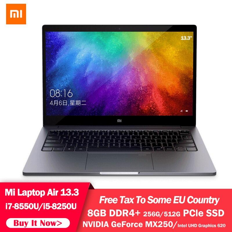 Оригинальный ноутбук Xiaomi MI Air 13,3 дюймов четырехъядерный i5 i7 8G MX250 ультратонкий ноутбук 512G 256G SSD FHD ПК для работы в офисе