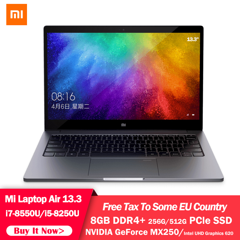 Original Xiaomi MI Laptop Air 13.3 Inch Quad Core i5 i7 8G MX250 Ultra thin Notebook 512G 256G SSD FHD PC for Game Office Work image