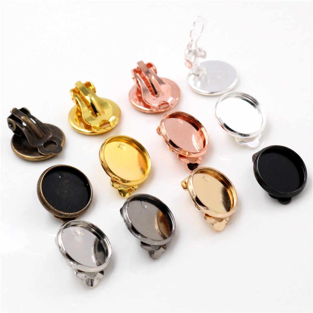 Size: 12mm dia 20pcs Laliva reidgaller 20pcs fit 12mm cameo cabochon earrings base settings diy clip on earring findings