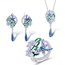 Wholesale fashion 925 Sterling Silver Set Dragonfly Pendant Zircon Enamel Epoxy Flower Ring Engagement Earrings Set Jewelry цена и фото