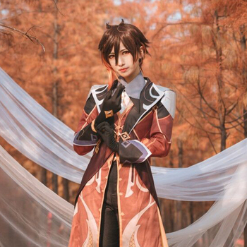 Anime! Genshin Impact Zhongli Cosplay Costume Game Suit Men Fancy Uniforms Halloween Carnival Party Outfits Custom Made 2