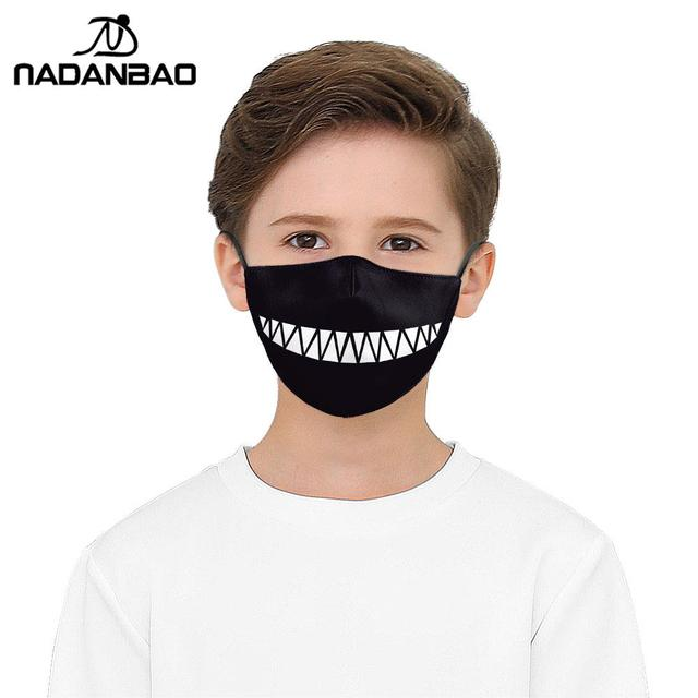 NADANBAO Cute Tooth Series Print Face Children Mask Black Washable Fabric Adult Kid Mask Reusable Mask Cover Cartoon 3