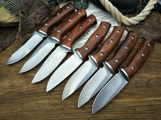LCM66 hunting straight knife tactical knifeFixed Knives,steel head+solid wood handle Survival Knife,Camping Rescue Knife tools 2