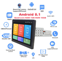 """Android 8.1 10.1"""" 1080P Touch Screen 1GB +16GB Car Stereo Radio GPS Wifi BT DAB Mirror Link OBD Universal Single Din  Adjustable