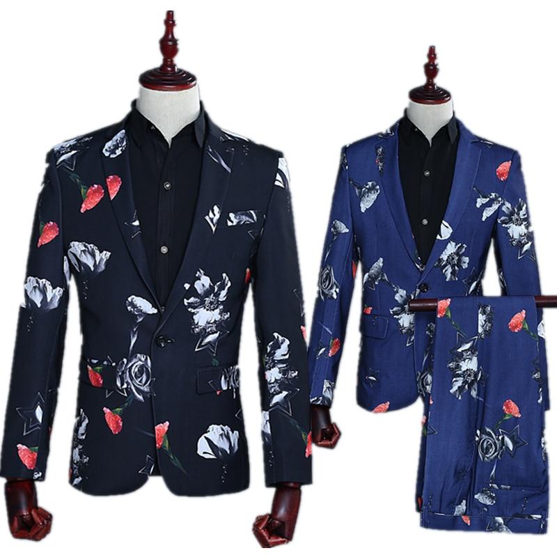Party Banquet Ball Attire Fashion Men's Business Casual Suit Notch Lap Collar Slim Carnation Printing Suit Set (coat Vest Pant)