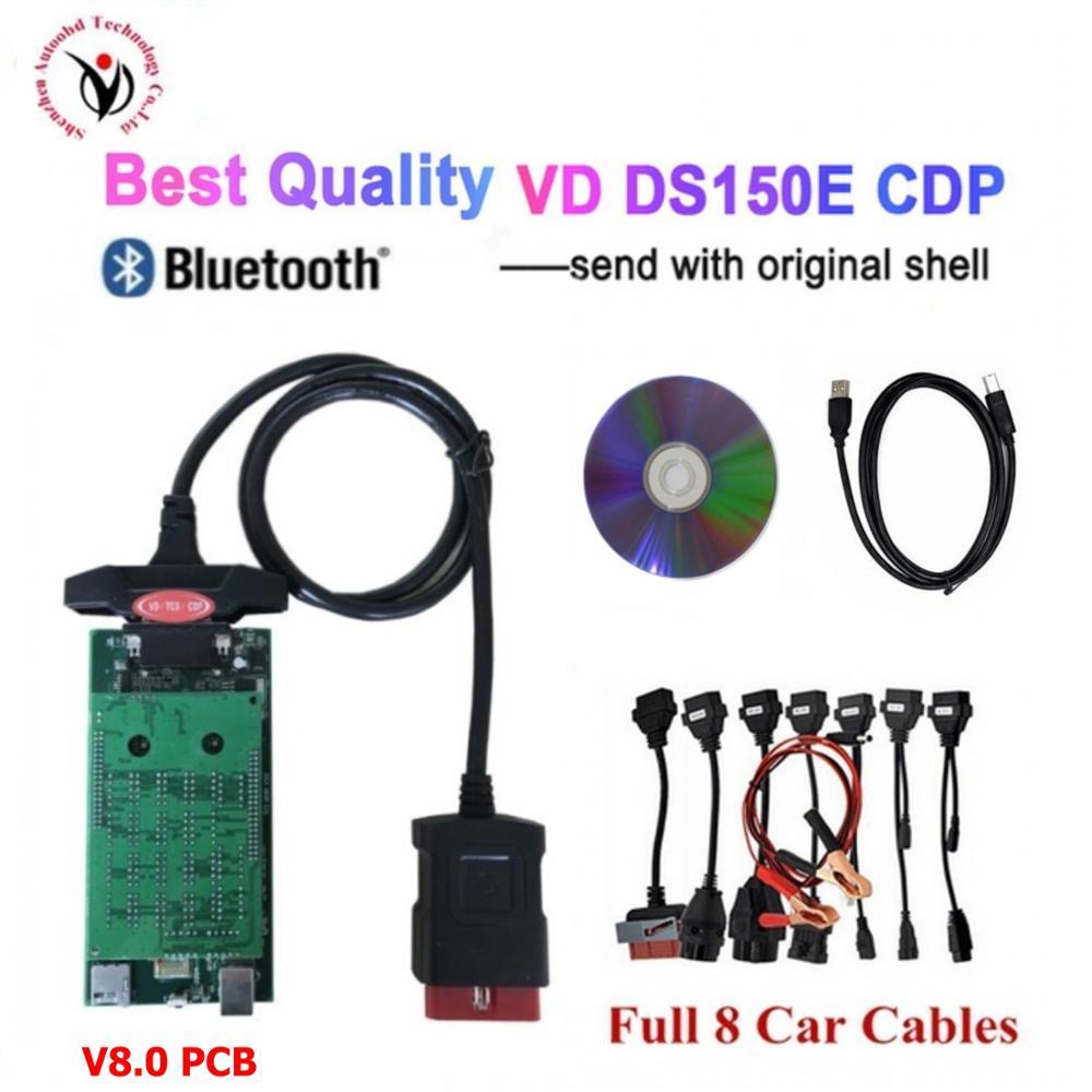 DHL 5 uds/lote VD TCS CDP 2016R0 keygen V8.0 tablero bluetooth herramienta de diagnóstico para delphis vd ds150e cdp + 8 Uds cables de coche pueden elegir Nuevo adaptador Bluetooth V1.5 Elm327 Obd2 Elm 327 V 1,5, escáner de diagnóstico para automóvil para Android Elm-327 Obd 2 ii, herramienta de diagnóstico para coche