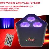 Mini batteria Wireless LED Par RGBWA UV 6IN1 LED Wash Light 3x18W High Power Bright DJ Party Christmas Stage DMX Night Uplight