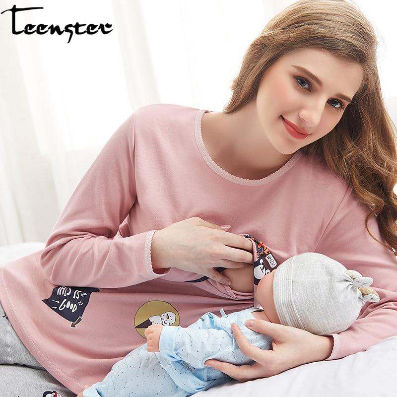 Teenster Maternity Clothes Long Sleeve Nursing Top Autumn Spring Breastfeeding Undershirts For Pregnant Women Postpartum Feeding