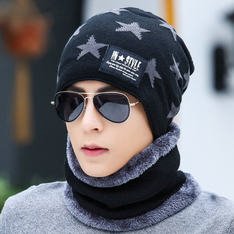 Korean Wool Knitted Hat Scarf Set Plush Warm Cold Proof Winter Hat For Men And Boys Youth Outdoor Riding