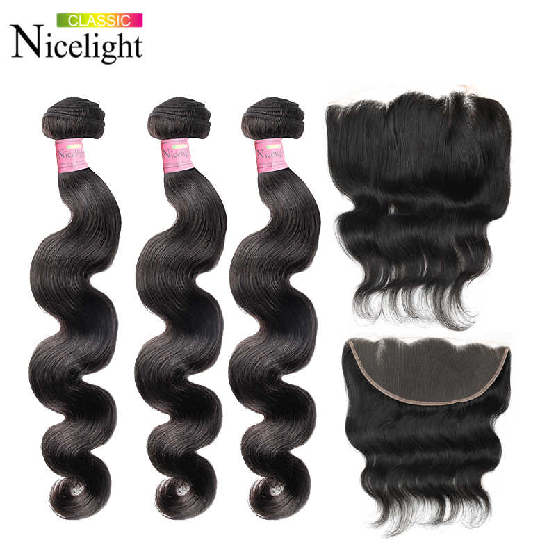 Body Wave Bundles With Frontal Peruvian Hair Bundles With Frontal 13X4 Lace Closure Nicelight Bodywave Bundles With Frontal