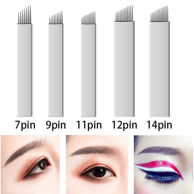 microblading Needle 12 14 16 18pin U shape Eyebrow Tattoo Blades 3D Embroidery for Manual Pen Permanent Makeup tattoo accessory 1