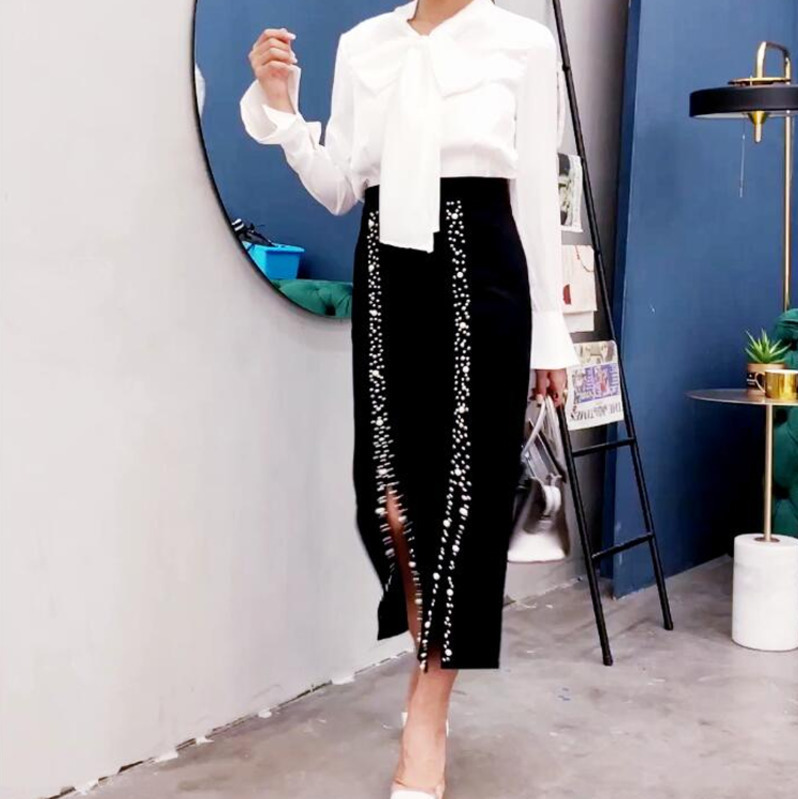LANMREM 2020 Spring New High Waist Deabed Calf-length Halfbody Covered Hips OL Pencil Skirt Women Bottoms WD39801L