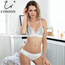 CINOON Women sexy underwear bra embroidery lingerie set thin lace transparent ultra-thin temptation push up