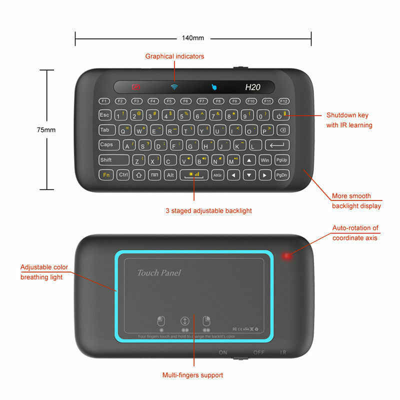 H20 Mini 2.4G Không Dây Mini Thông Minh Bàn Phím Bàn Di Chuột Bàn Phím Cho Máy Tính Điều Khiển Từ Xa Thông Minh Truyền Hình Điện Thoại Anh