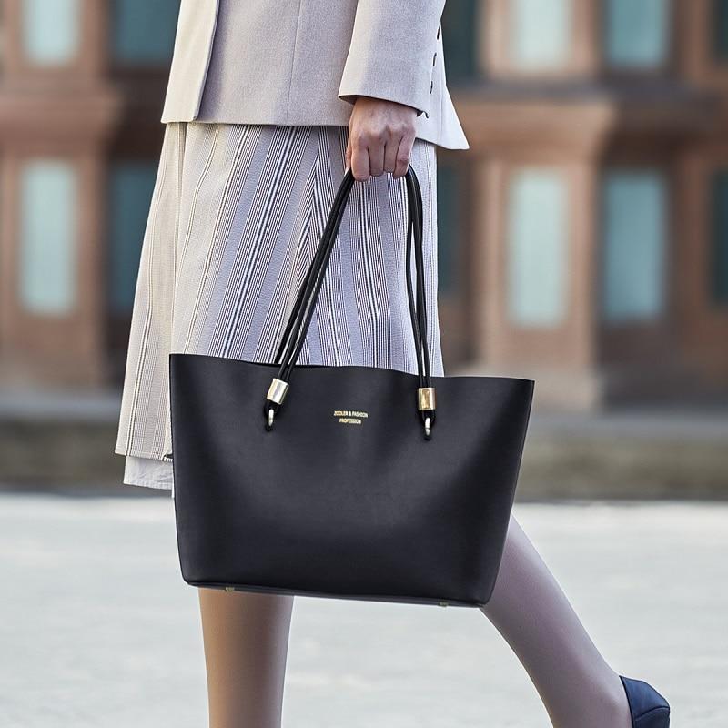 ZOOLER 2019 New Ladies Fashion High Quality PU Tote bag Luxury Handbags Zipper Elegant Female shoulder bags Black Classic S128