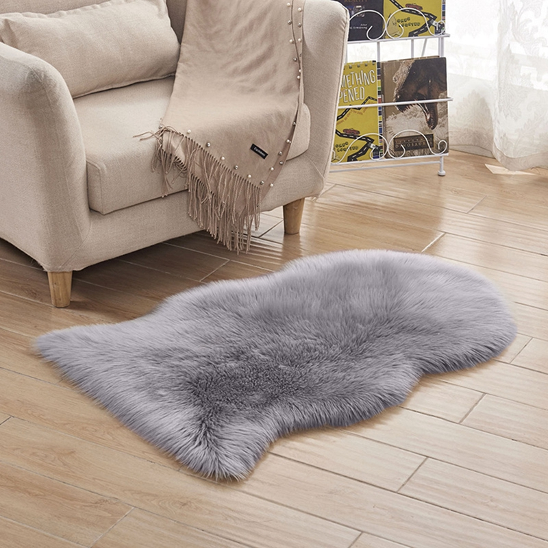 Faux Fur Sheepskin Rug <font><b>60</b></font> x 90 cm Faux Fleece Fluffy Area Rugs Anti-Skid Carpet for Living Room Bedroom Sofa Nursery Rugs (Grey) image