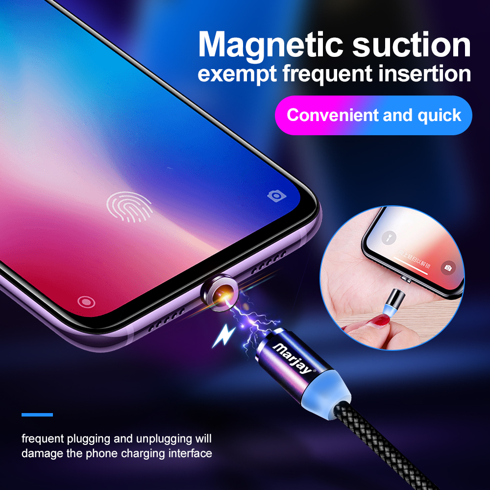 Marjay Magnetic Charger Cable Fast Charging Micro USB Type C Cable For iPhone Samsung Xiaomi Huawei