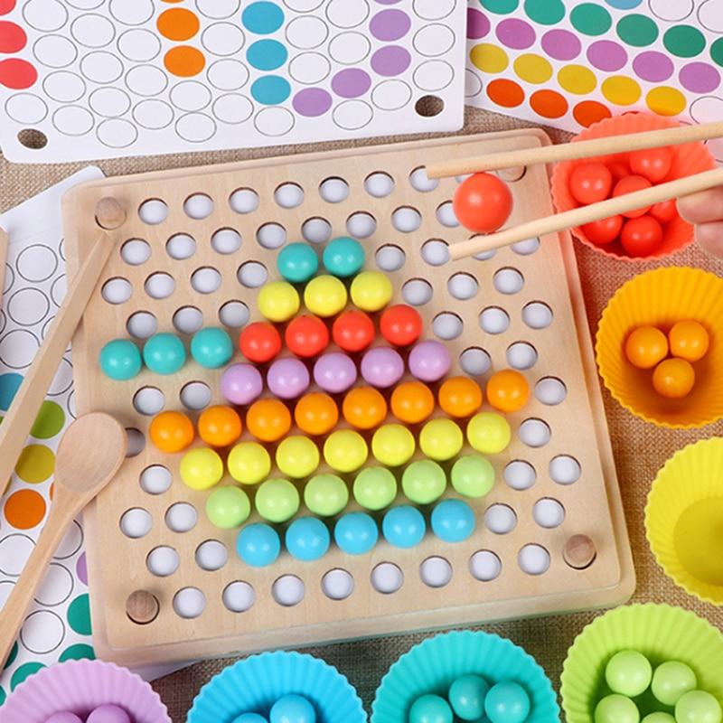Игра с бусинами Монтессори для детей раннего возраста деревянный зажим шар головоломка родитель-ребенок Интерактивная игрушка подарок для...