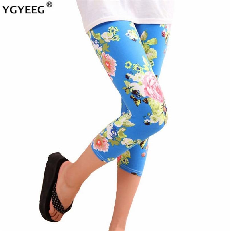 YGYEEG 2020 Women Capris Skull Head Leggins Floral Printing Soft Pants High Street Grid Leggings Mid-Calf Hot Lips Legging