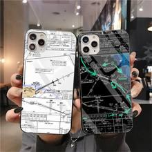 HPCHCJHM Aviation Chart TPU black Phone Case Cover Hull Temp