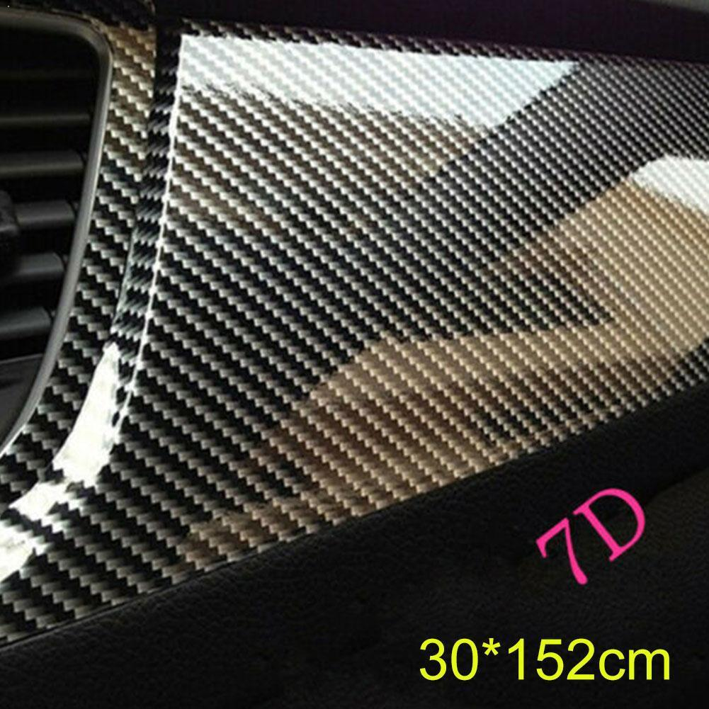 Stylish Black 7D Glossy Carbon Fiber PVC Wrap Vinyl Release Decal Wraps Car Air Sticker Film Z9Y1