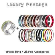 Cremo Anillos de titanio para Mujer, Sección de anillo intercambiable apilable, anillo giratorio de acero inoxidable, sortija de boda, Anillos para Mujer