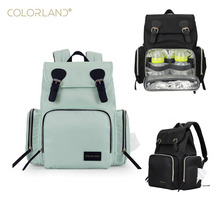 COLORLAND multi-function waterproof diaper bag bottle insulated back milk large capacity travel baby care out storage