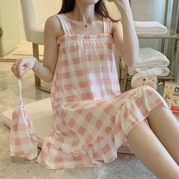 Plaid Cotton Women's Nightgown Sets Short Sleeve Pink Nightdress Sleepwear Nightwear Pj Lounge Pyjamas Pijamas Pizama Damska