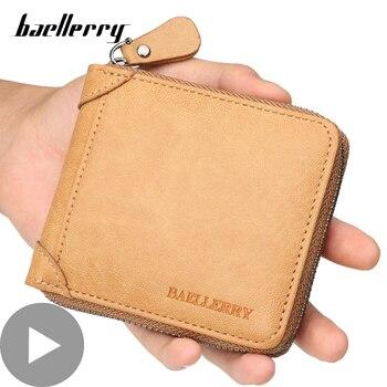 цена на Zipper Short Small for Men Wallet Male Purse Card Coin Holder Money Bag Black Partmone Vallet Walet Cough Brieftasche Portofele