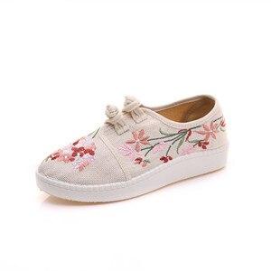 Image 4 - חדש פרחים סיני ישן פקין אביב נעלי נשים מזדמן קנבוס כותנה פרח רקמת מקדחה נעלי גודל 34 43