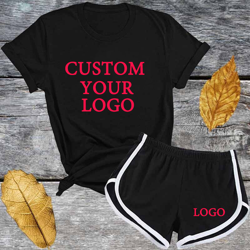 2020 Woman Tracksuit Summer Fashion Print T Shirrt +Short 2 Piece Set Women Sports Outfit Custom Your Logo