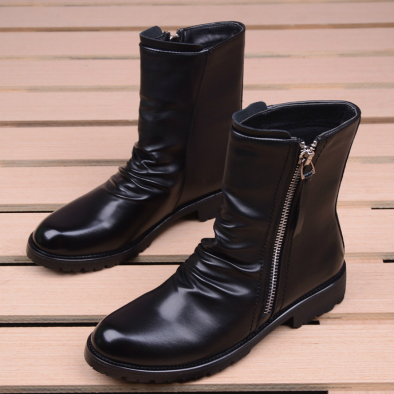 men casual stage motorcycle dresses cowboy boots spring autumn  genuine leather shoes pointed toe military boot ankle bota sapatoBasic  Boots