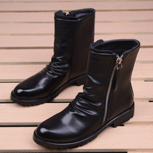men casual stage motorcycle dresses cowboy boots spring autumn genuine leather shoes pointed toe military boot ankle bota sapato