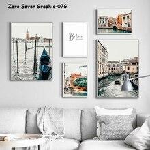 Póster de lienzo de fotos de paisaje turístico de Venecia Vintage y estampado pintura arte de pared de galería para la decoración moderna de la sala de estar
