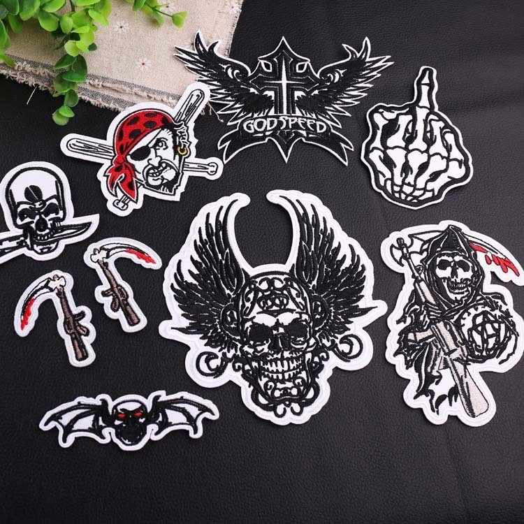 Skull Punisher Series Clothing Punk Badge Wind Cloth Stickers Skull DIY Knitting Embroidery Stitch Repair Jacket Coat Decoration