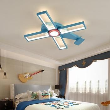 Moderne led Plafond kroonluchter kinderkamer Jongen meisje kamer creatieve cartoon Vliegtuig decoratie slaapkamer kroonluchter verlichting